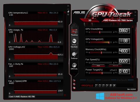 Zrzut ekranu ASUS GPU Tweak na Windows 8.1