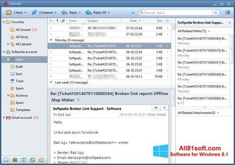 Zrzut ekranu FoxMail na Windows 8.1