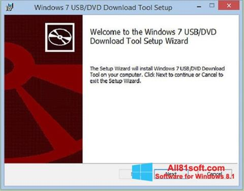 Zrzut ekranu Windows 7 USB DVD Download Tool na Windows 8.1