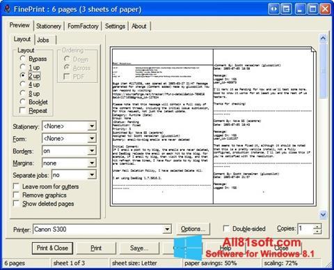 Zrzut ekranu FinePrint na Windows 8.1