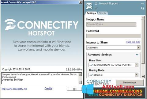 Zrzut ekranu Connectify na Windows 8.1