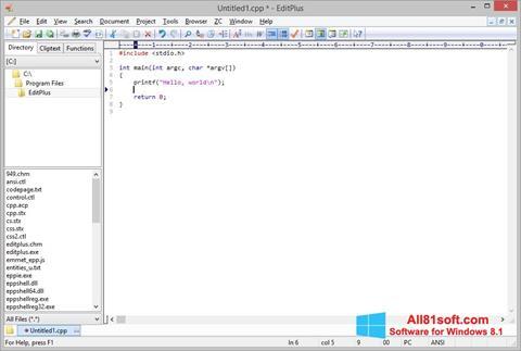 Zrzut ekranu EditPlus na Windows 8.1