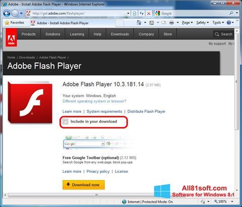 Zrzut ekranu Adobe Flash Player na Windows 8.1