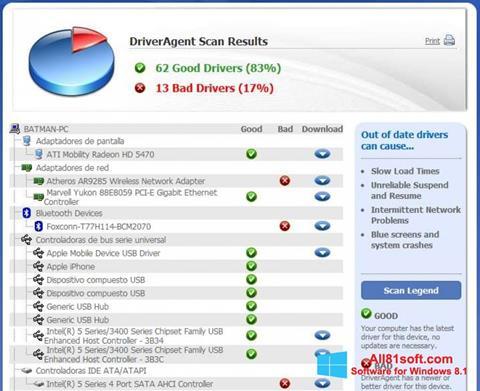Zrzut ekranu DriverAgent na Windows 8.1