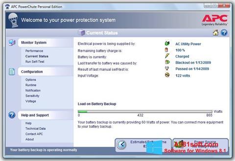 Zrzut ekranu PowerChute Personal Edition na Windows 8.1