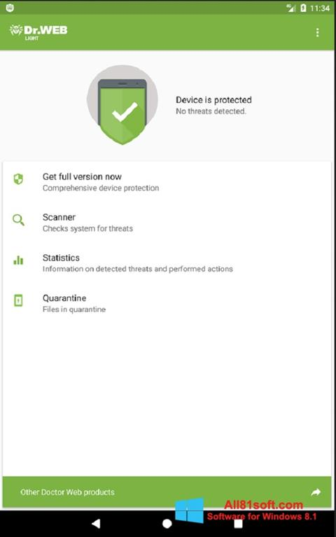 Zrzut ekranu Dr.Web Light na Windows 8.1