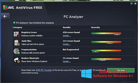 Zrzut ekranu AVG AntiVirus Free na Windows 8.1