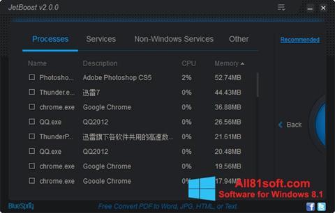 Zrzut ekranu JetBoost na Windows 8.1