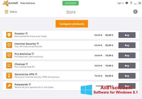 Zrzut ekranu Avast Free Antivirus na Windows 8.1