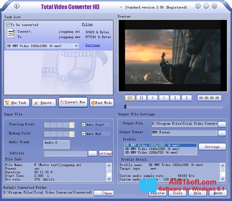 Zrzut ekranu Total Video Converter na Windows 8.1