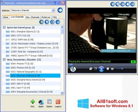 Zrzut ekranu SopCast na Windows 8.1