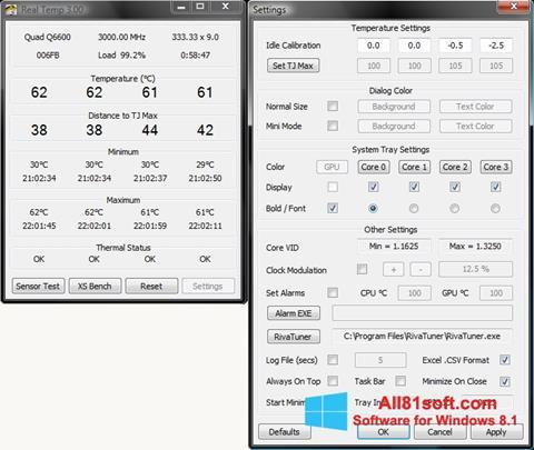Zrzut ekranu Real Temp na Windows 8.1