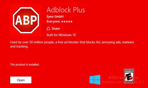 Zrzut ekranu Adblock Plus na Windows 8.1