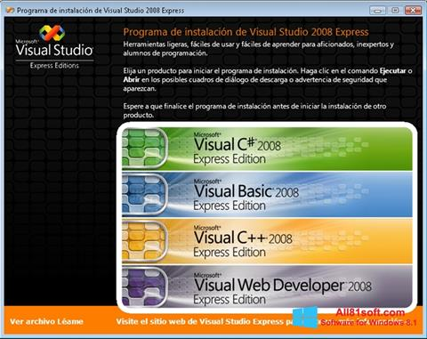 Zrzut ekranu Microsoft Visual Studio na Windows 8.1