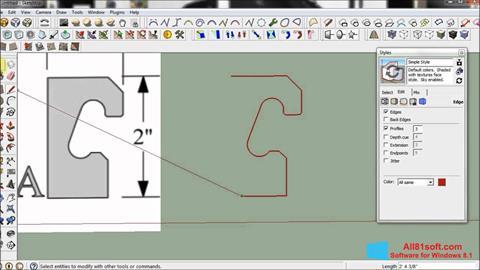 Zrzut ekranu SketchUp na Windows 8.1