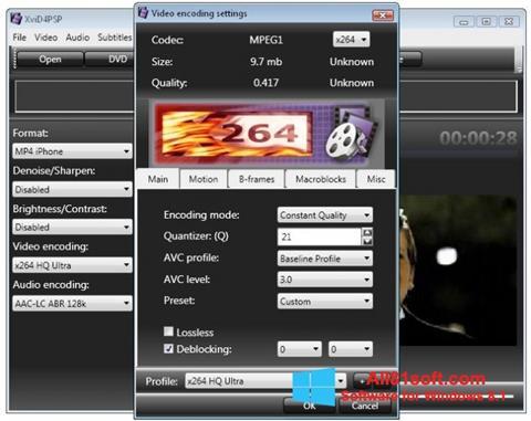 Zrzut ekranu XviD4PSP na Windows 8.1