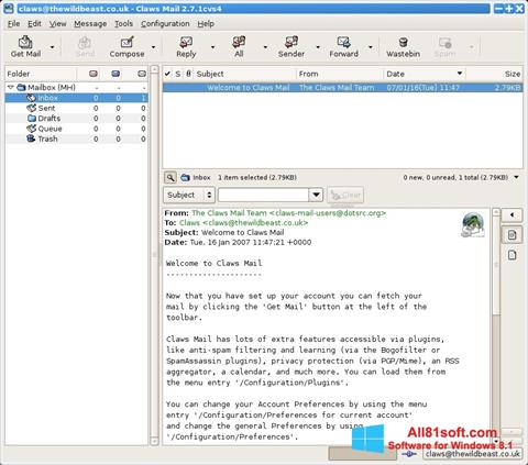 Zrzut ekranu Claws Mail na Windows 8.1