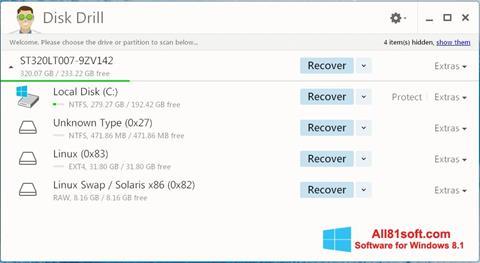 Zrzut ekranu Disk Drill na Windows 8.1