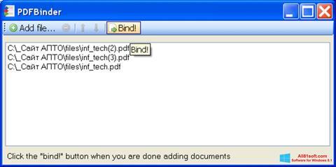 Zrzut ekranu PDFBinder na Windows 8.1
