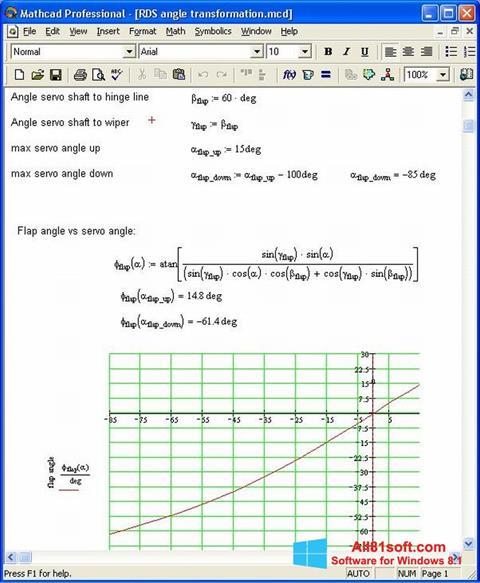 Zrzut ekranu MathCAD na Windows 8.1