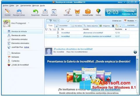 Zrzut ekranu IncrediMail na Windows 8.1