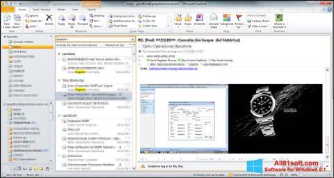 Zrzut ekranu Microsoft Outlook na Windows 8.1