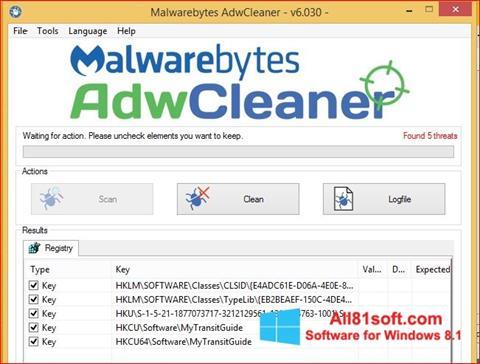 Zrzut ekranu AdwCleaner na Windows 8.1