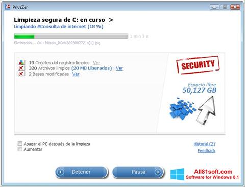 Zrzut ekranu PrivaZer na Windows 8.1