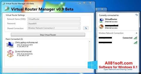 Zrzut ekranu Virtual Router Manager na Windows 8.1