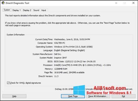 Zrzut ekranu DirectX na Windows 8.1