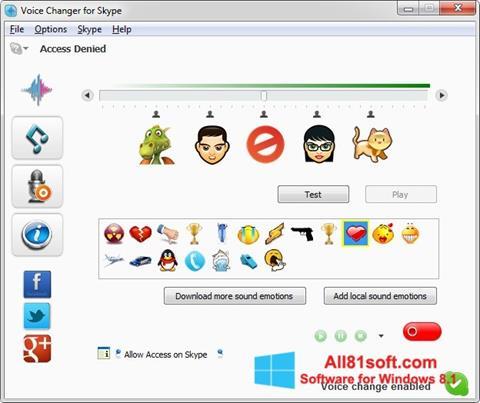 Zrzut ekranu Skype Voice Changer na Windows 8.1