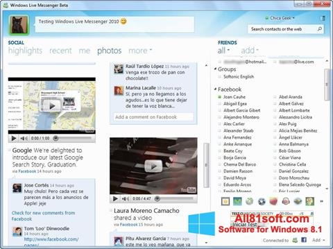 Zrzut ekranu Windows Live Messenger na Windows 8.1