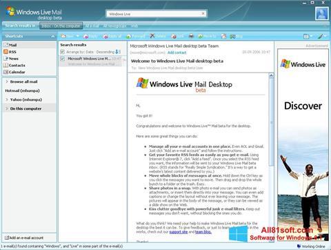 Zrzut ekranu Windows Live Mail na Windows 8.1