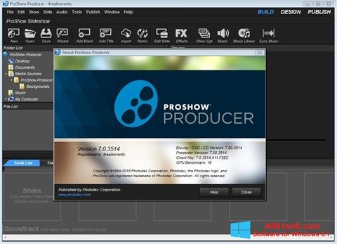 Zrzut ekranu ProShow Producer na Windows 8.1