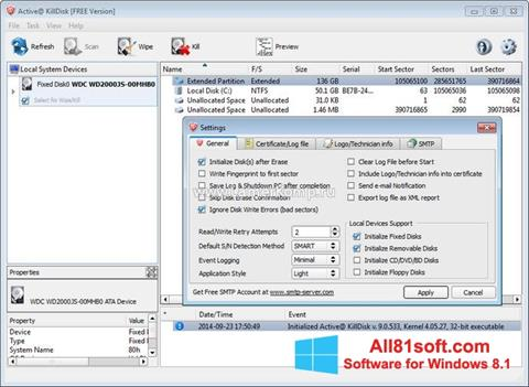 Zrzut ekranu Active KillDisk na Windows 8.1