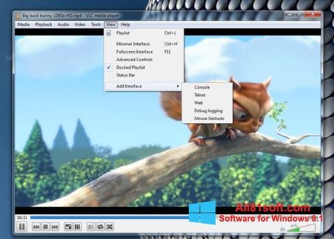 Zrzut ekranu VLC Media Player na Windows 8.1