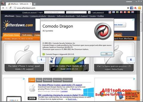 Zrzut ekranu Comodo Dragon na Windows 8.1