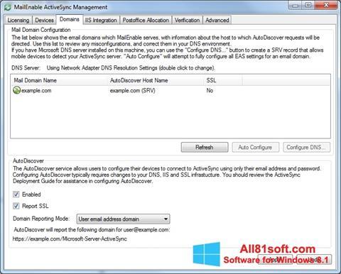 Zrzut ekranu Microsoft ActiveSync na Windows 8.1
