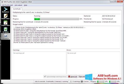 Zrzut ekranu MKVToolnix na Windows 8.1