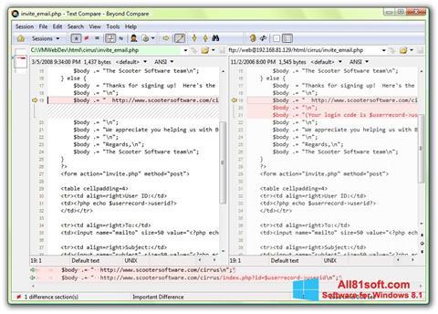 Zrzut ekranu Beyond Compare na Windows 8.1