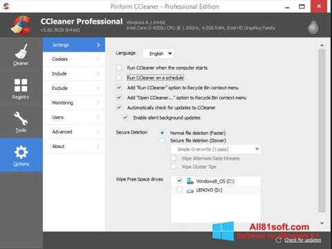 Zrzut ekranu CCleaner na Windows 8.1