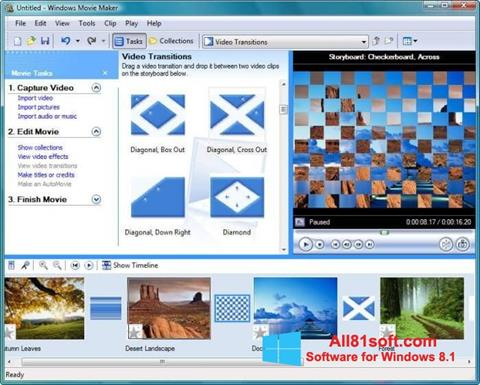 Zrzut ekranu Windows Movie Maker na Windows 8.1