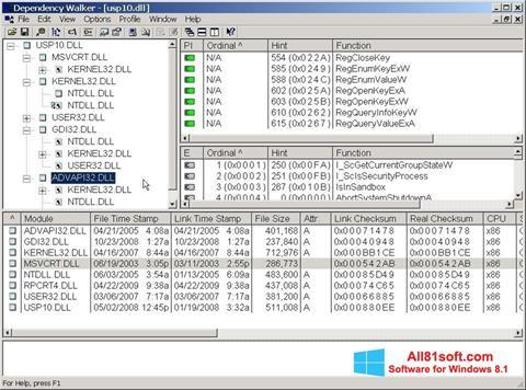 Zrzut ekranu Dependency Walker na Windows 8.1