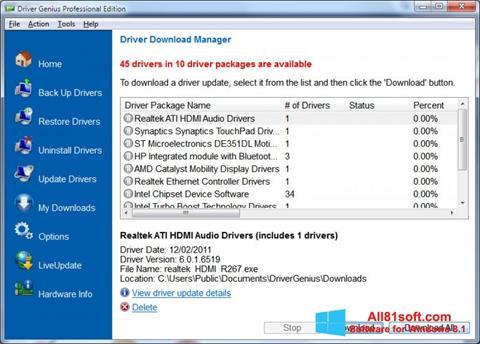 Zrzut ekranu Driver Genius Professional na Windows 8.1
