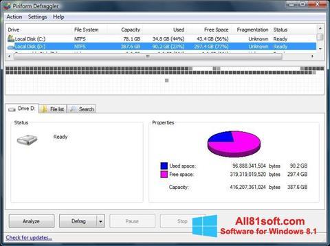 Zrzut ekranu Defraggler na Windows 8.1