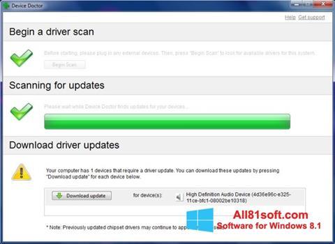 Zrzut ekranu Device Doctor na Windows 8.1