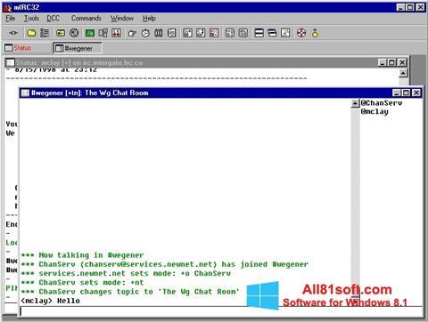 Zrzut ekranu mIRC na Windows 8.1