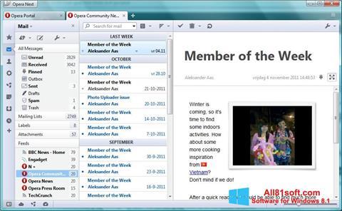 Zrzut ekranu Opera Mail na Windows 8.1