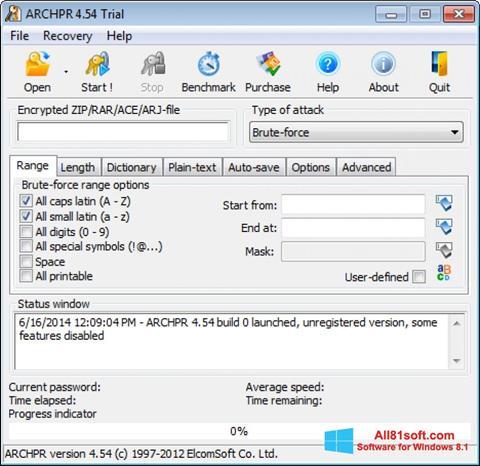 Zrzut ekranu Advanced Archive Password Recovery na Windows 8.1