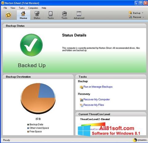 Zrzut ekranu Norton Ghost na Windows 8.1